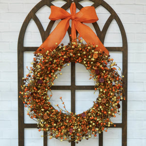Orange, Yellow, Brown Fall Berry Wreath with Buttons