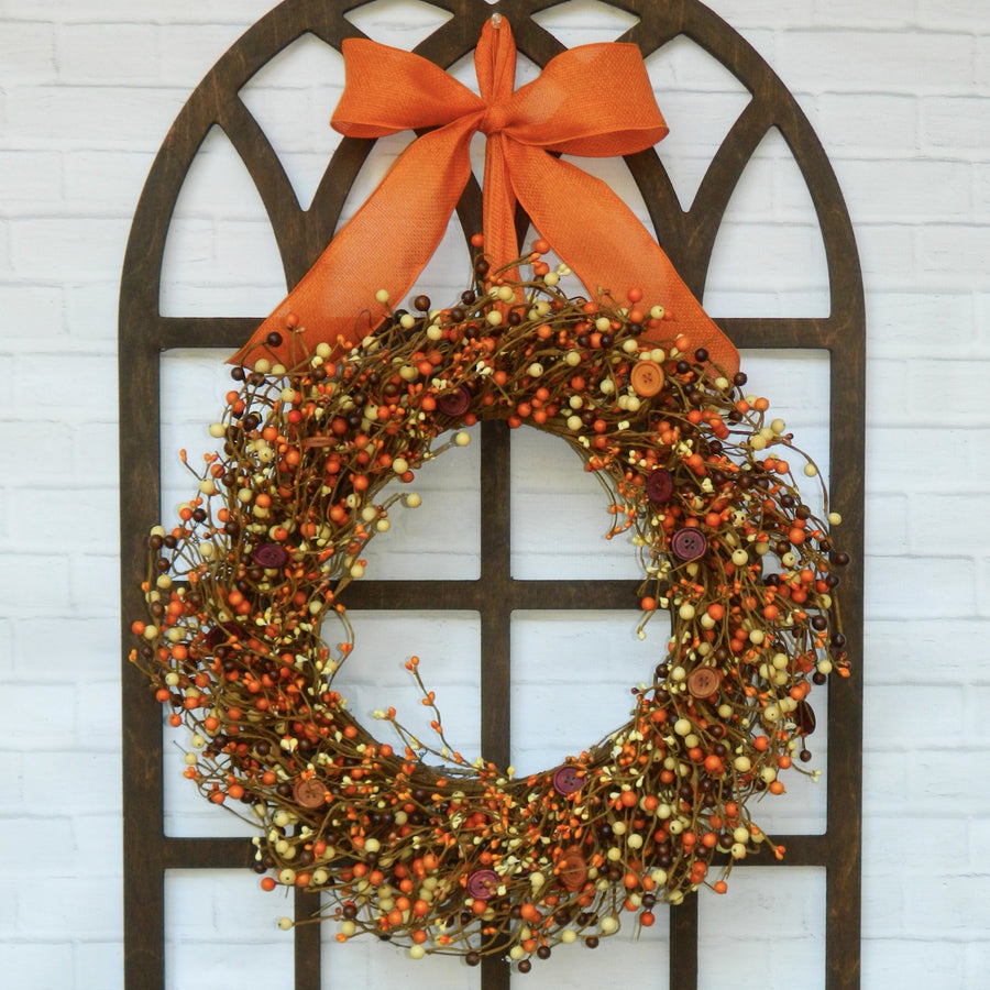 Orange Burgundy and Brown Wreath with Buttons with Bow