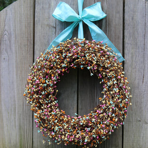 Pink, Light Teal, & Yellow Pip Berry Wreath with Bow