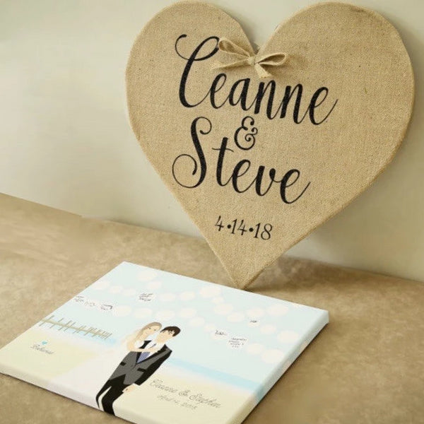 Rustic Wedding Decoration - Burlap Heart Decoration
