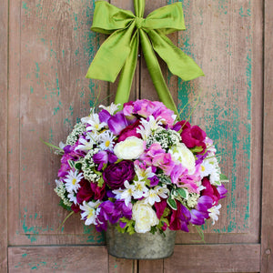 Purple Flower Pail Wreath Alternative