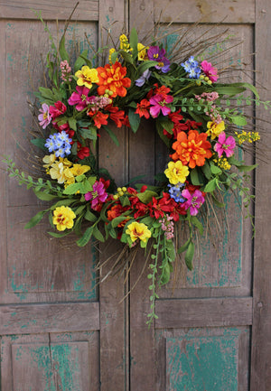 Bright Multi-Colored Summer Floral Wreath