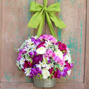 Purple Flower Pail Door Hanger