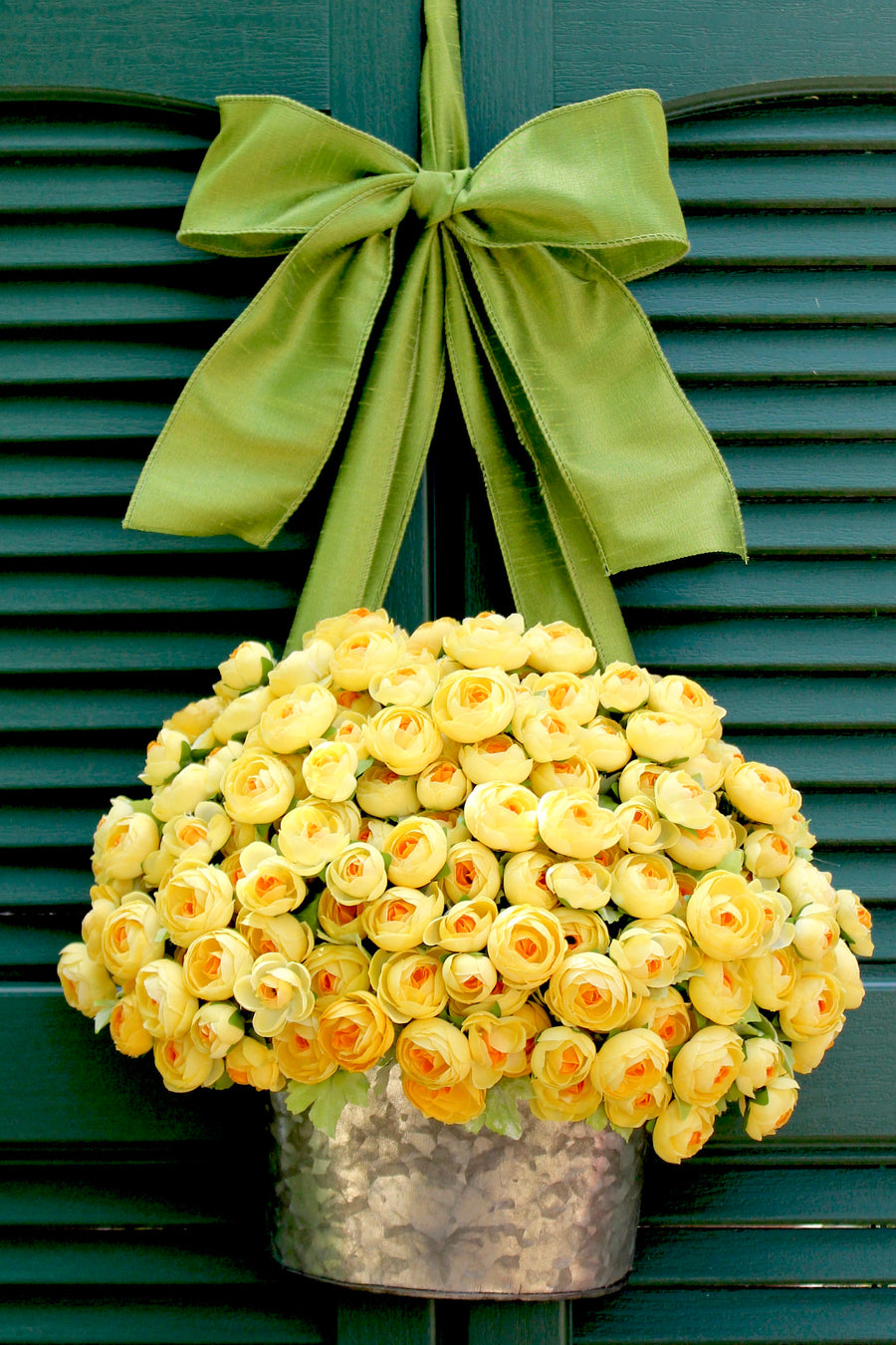 Yellow Ranunculus Flower Pail Wreath Alternative