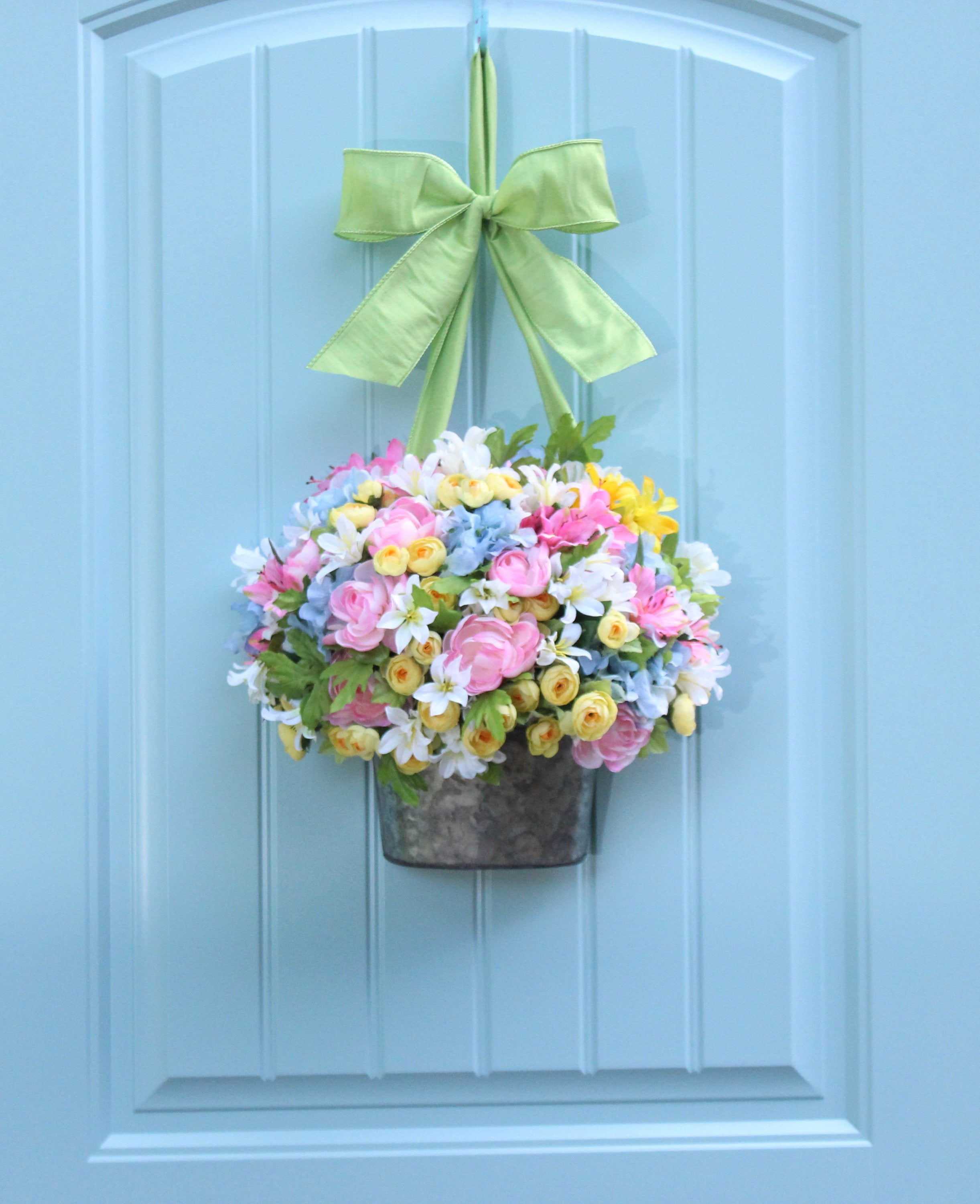 Flower Pail Wreath - Pastel Wreath - Spring Wreath - Summer Wreath - Choose Bow