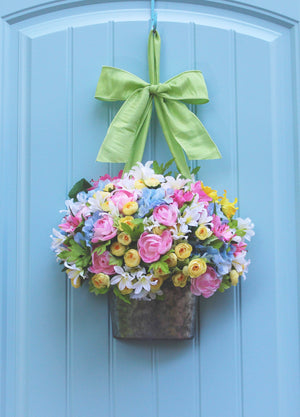 Pastel Flower Pail Door Hanger