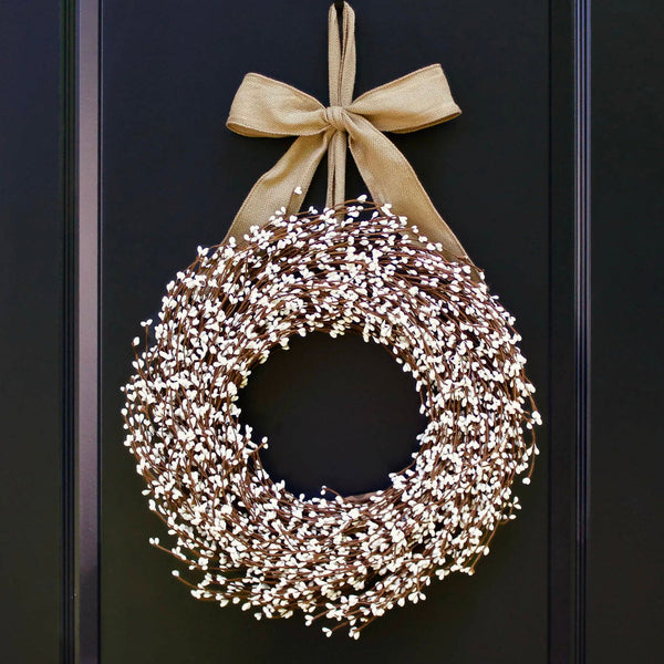 Cream Berry Wreath - Farmhouse Decor - Farmhouse Wreath - Choose Bow