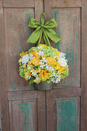 Yellow, White, & Green Floral Pail Door Hanger