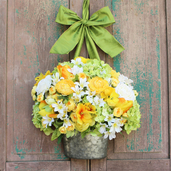 Summer Wreath - Spring Wreath - Bucket Door Wreath - Yellow Floral Wreath - Choose Bow