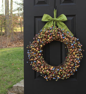 Mixed Spring Combo Berry Wreath with Bow