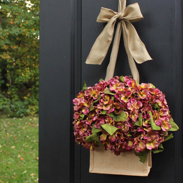 Burlap Wreath - Hydrangea Wreath