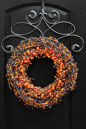 Orange and Purple Two Tone Halloween Wreath