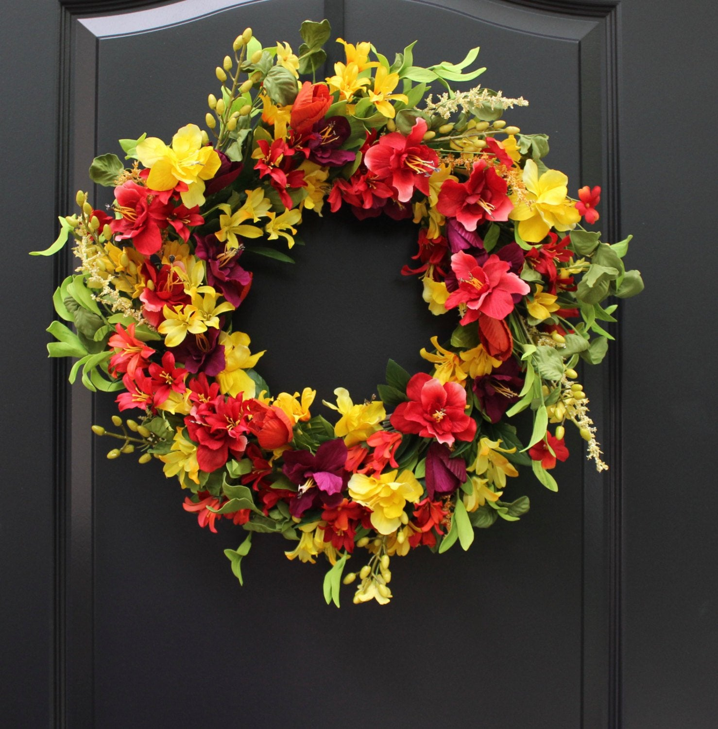 Floral Door Wreath - Summer Wreath - Flower Wreath - Handmade Wreath