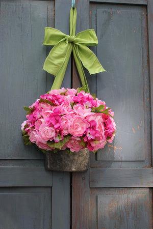 Pink Flower Pail Wreath Alternative