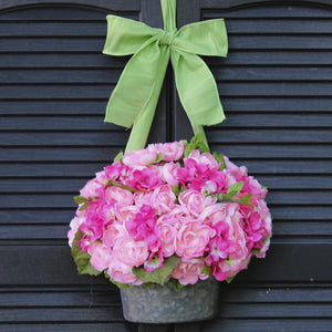 Pink Flower Pail Door Hanger