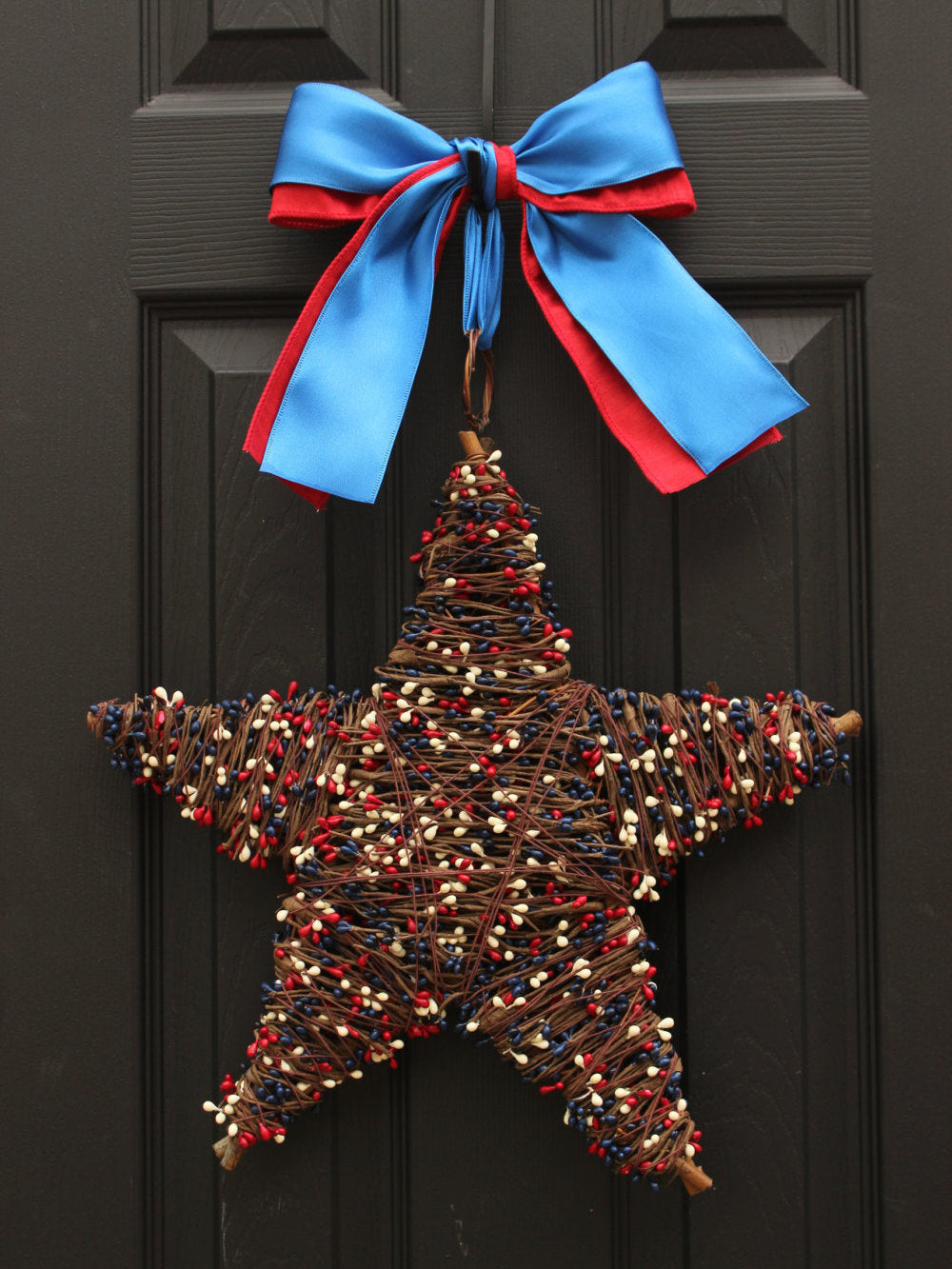 Red White and Blue Wreath - Patriotic Wreath - Star Wreath  - July 4th Wreath