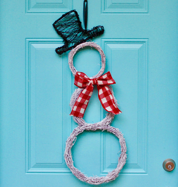 Snowman Wreath - Front Door Christmas Wreath - Holiday Door Wreath