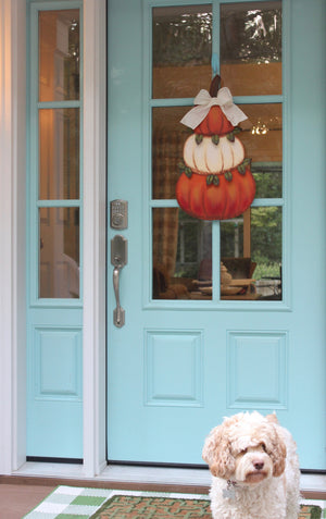 Cream and Orange Pumpkin Topiary Door Hanger