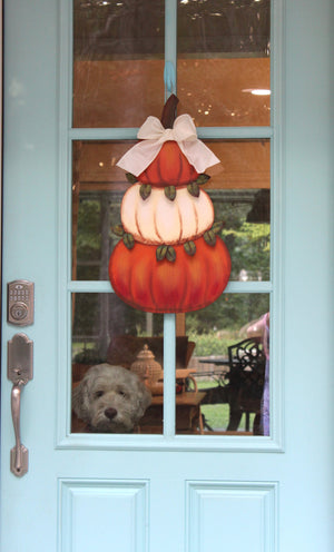 Cream and Orange Pumpkin Topiary Wreath