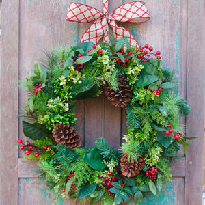 Evergreen Christmas Wreath - Green Holiday Wreath - Choose Bow