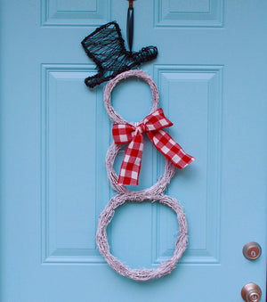 White Grapevine Snowman Wreath