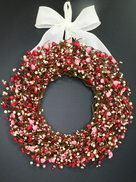 Red and Pink Valentine Wreath - Heart Wreath - Berry Heart Wreath - Valentine Gift