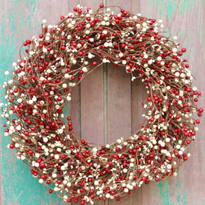 Red and Cream Berry Wreath (no bow)