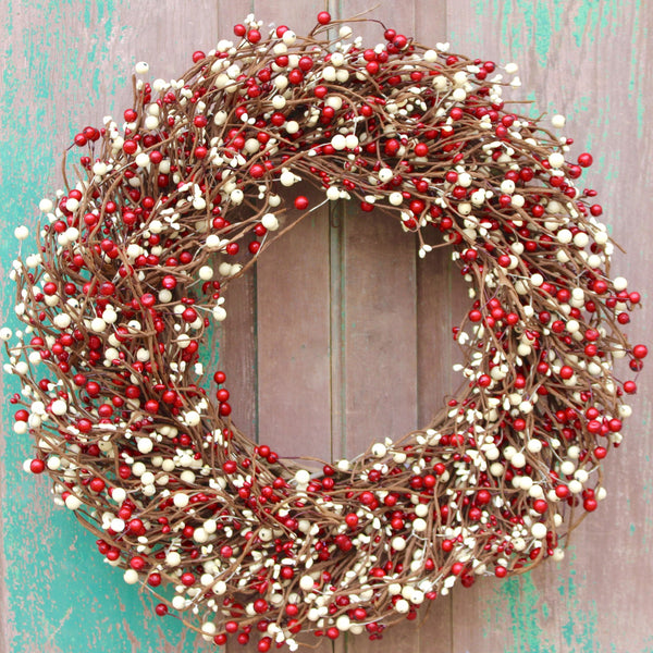 Red and White Wreath - Holiday Wreath