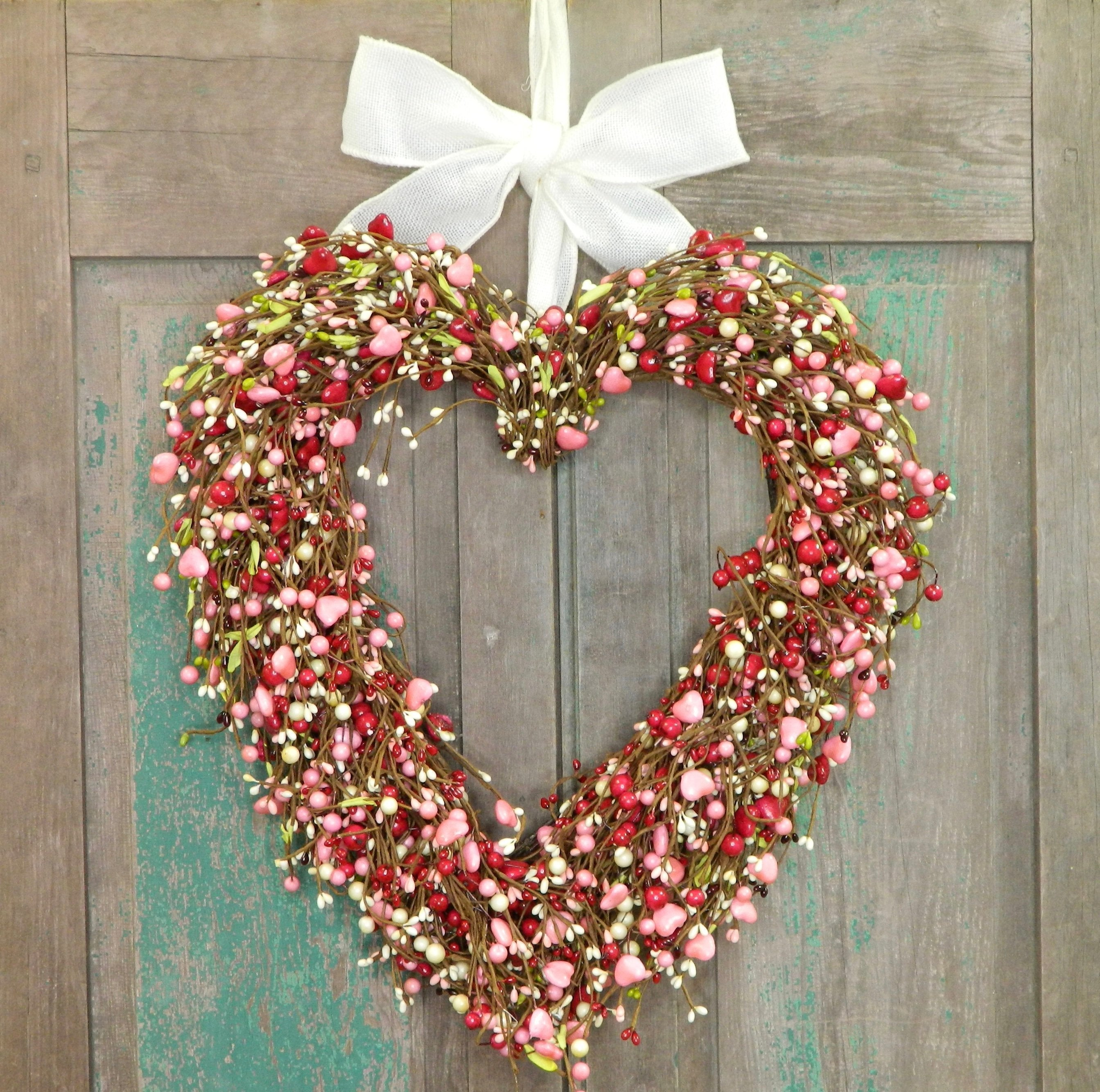 Red Heart Wreath - Valentine Gift - Pink Heart Wreath - Pink and Red Wreath