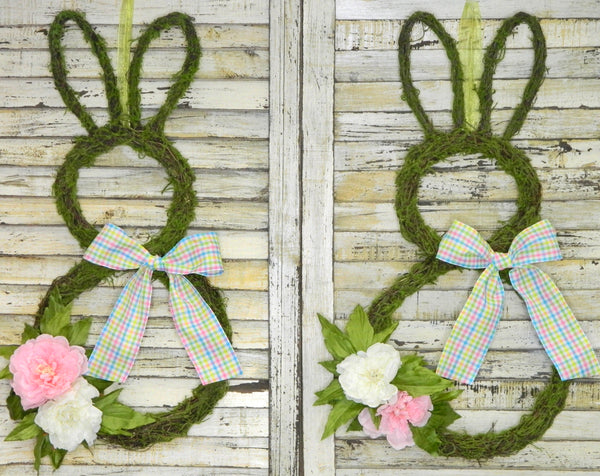 Easter Bunny Wreath - Moss Bunny Wreath - Easter Party Decor - Peony Wreath