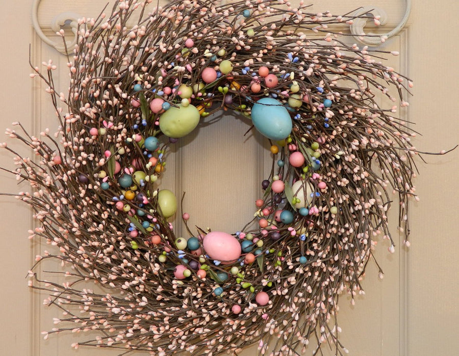 Primitive Easter Egg Wreath with Pip Berries