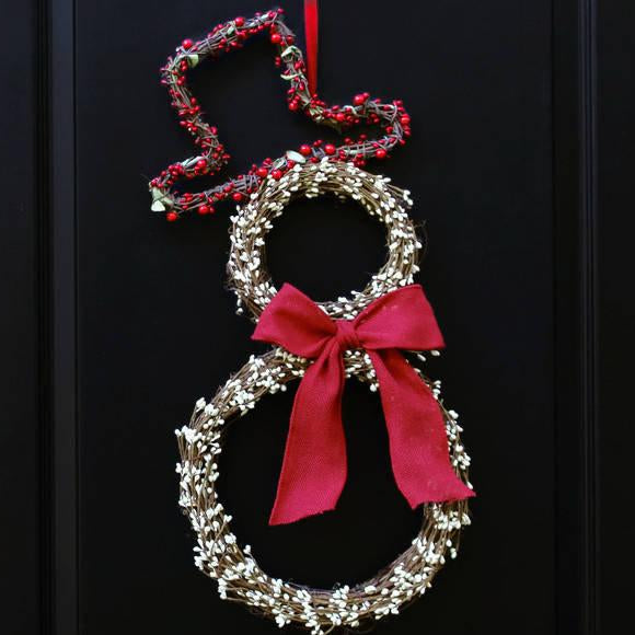 Snowman Wreath - Christmas Wreath - Christmas Door Wreath - Choose Bow
