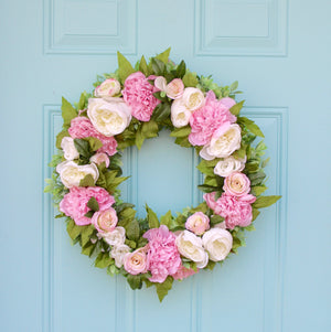 Pink and Cream Spring Peony Wreath
