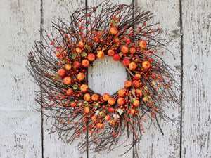 Primitive Halloween Wreath - Pumpkin Wreath - Fall Door Decoration - Pumpkin Door Wreath