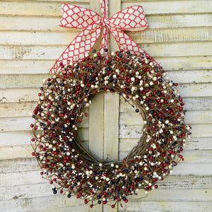 Patriotic Red White and Blue Berry Wreath