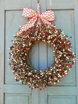 Patriotic Red White and Blue Berry Wreath with Bow