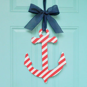 Nautical Striped Anchor Door Hanger