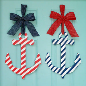 Nautical Striped Anchor Wreath