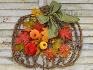 Fall Pumpkin Wreath - Grapevine Wreath with Velvet Pumpkins - Harvest Autumn Door Hanger