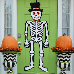 Halloween Skeleton Door Hanger Wreath Alternative - Halloween Decoration - Fall Door Wreath