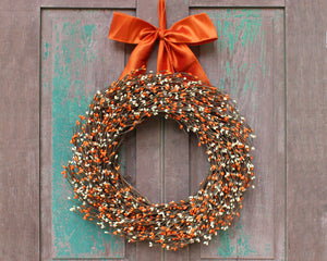 Fall Wreath - Fall Berry Wreath - Orange Berry Wreath