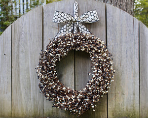 Black and White Wreath - Pip Berry Wreath - Everyday Wreath - Halloween Wreath - Choose Bow