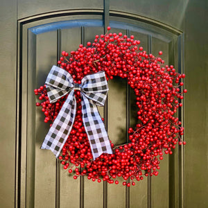 Red Waterproof Berry Wreath with Bow