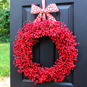 Red Waterproof Wreath with Bow