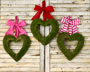 Moss Heart Wreath - Valentine Wreath - Choose Bow - Valentine Gift