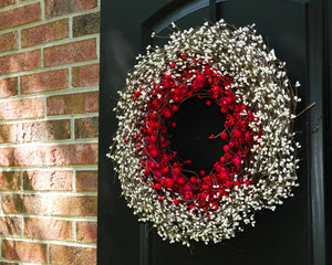 Christmas Wreath - Red Cream Wreath - Holiday Berry Wreath - Winter Door Decor
