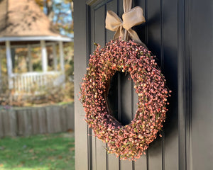 Peach Berry Wreath with Bow