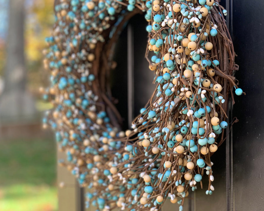 Teal and Cream Wreath with Bow