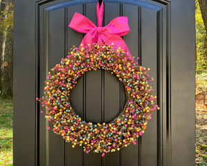 Pink Teal & Yellow Pip Berry Wreath with Bow