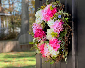 Pink & Green Hydrangea Wreath - Spring Flower Wreath - Outdoor Wreath - Front Porch Decor